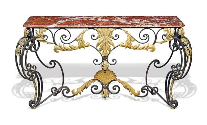A FRENCH WROUGHT-IRON AND GOLD