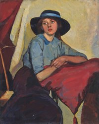 Portrait of a young girl seated, three-quarter length, wearing a blue dress and wide-brim hat