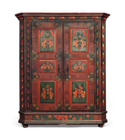 A TYROLEAN PAINTED WARDROBE
