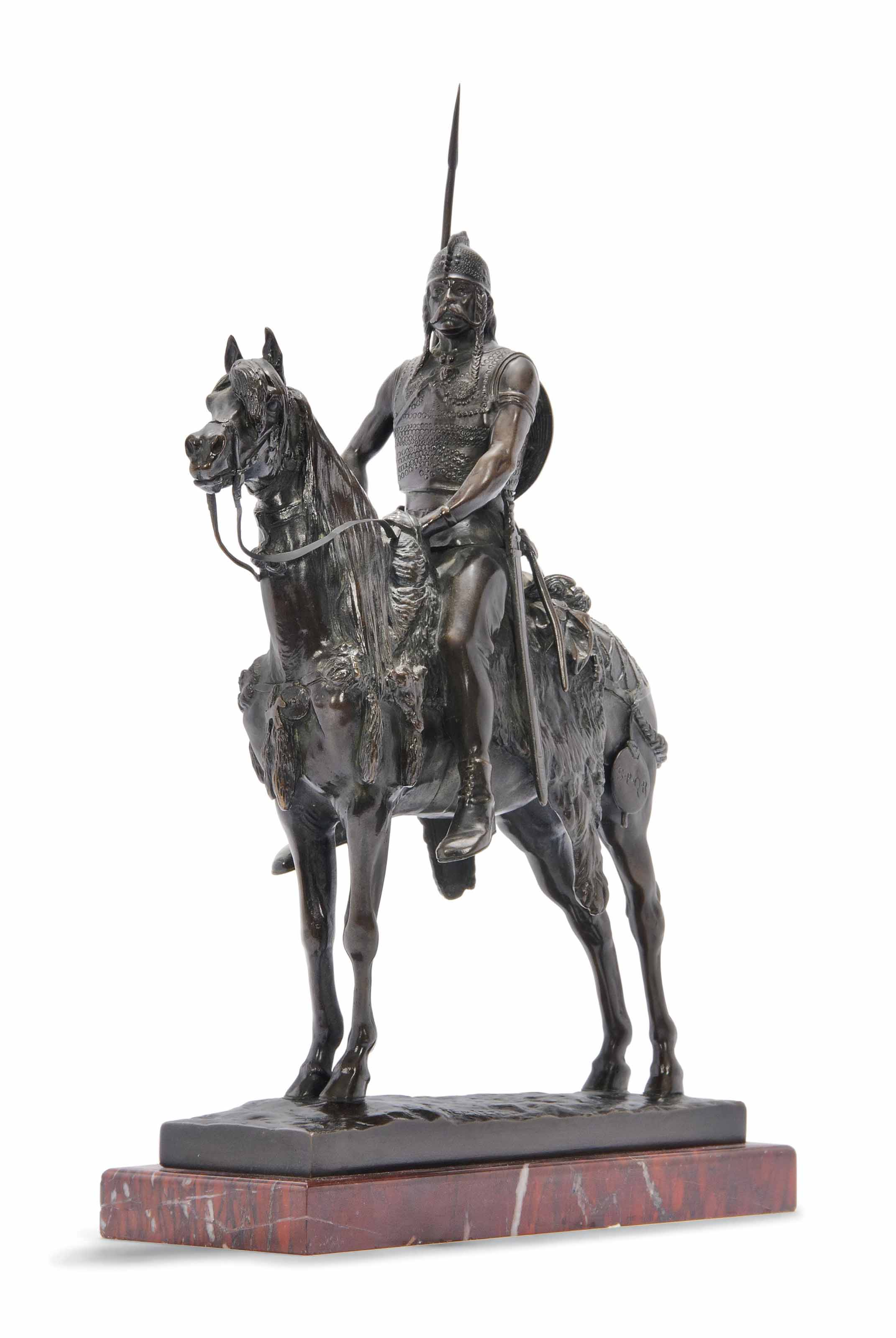 A FRENCH BRONZE EQUESTRIAN BRONZE OF THE GALLIC WARRIOR