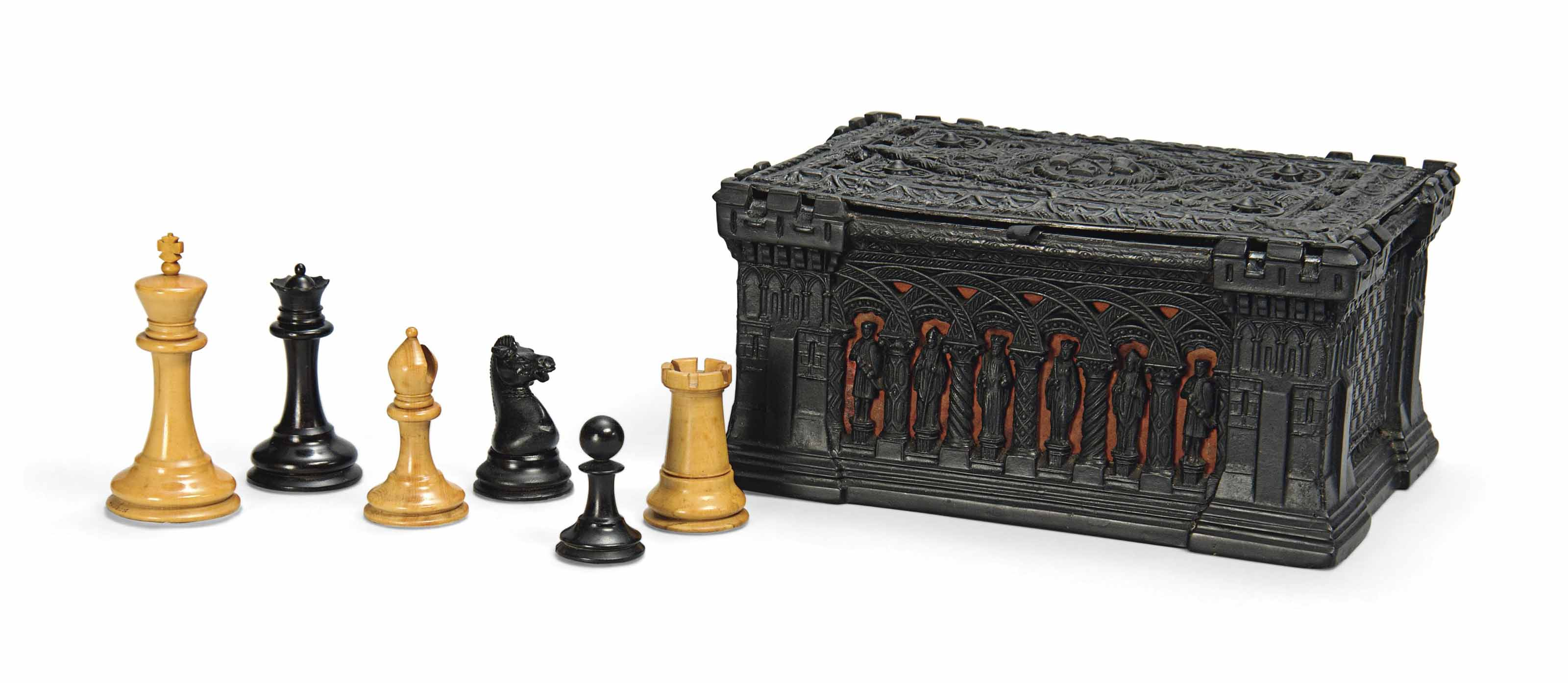 A VICTORIAN BOXWOOD AND EBONY WEIGHTED STAUNTON CHESS SET