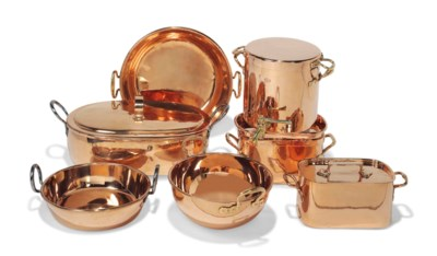 A GROUP OF FOUR COPPER LIDDED