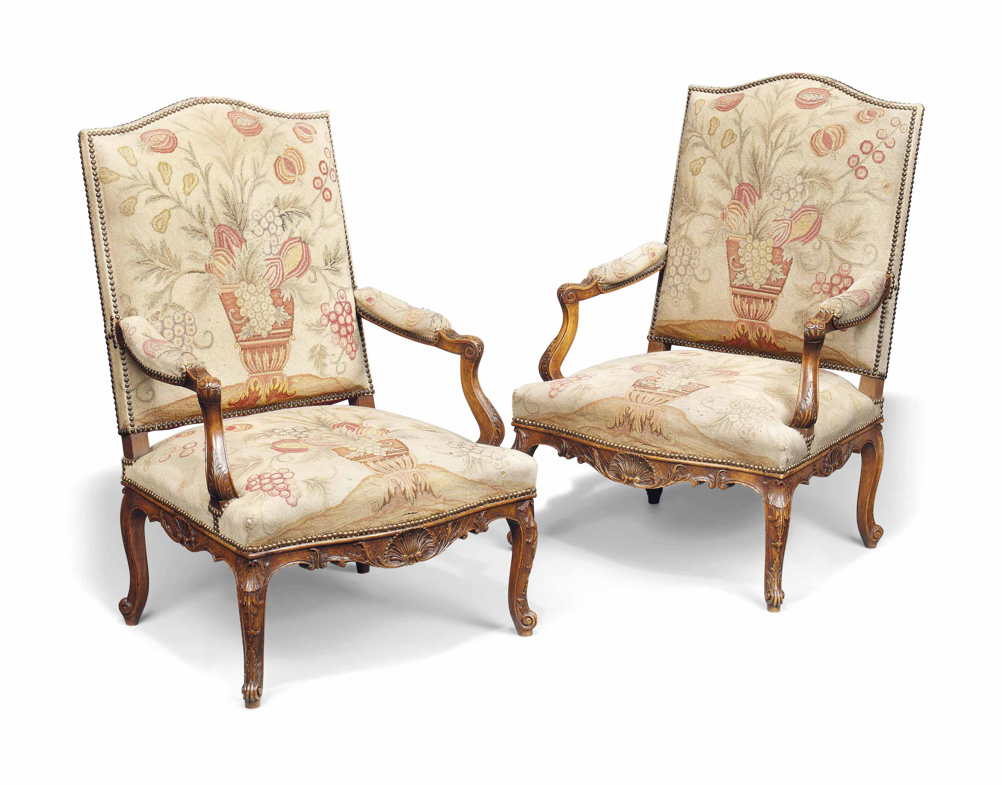 A PAIR OF FRENCH BEECH FAUTEUI