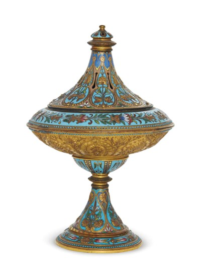 A VICTORIAN ENAMEL AND GILT BR