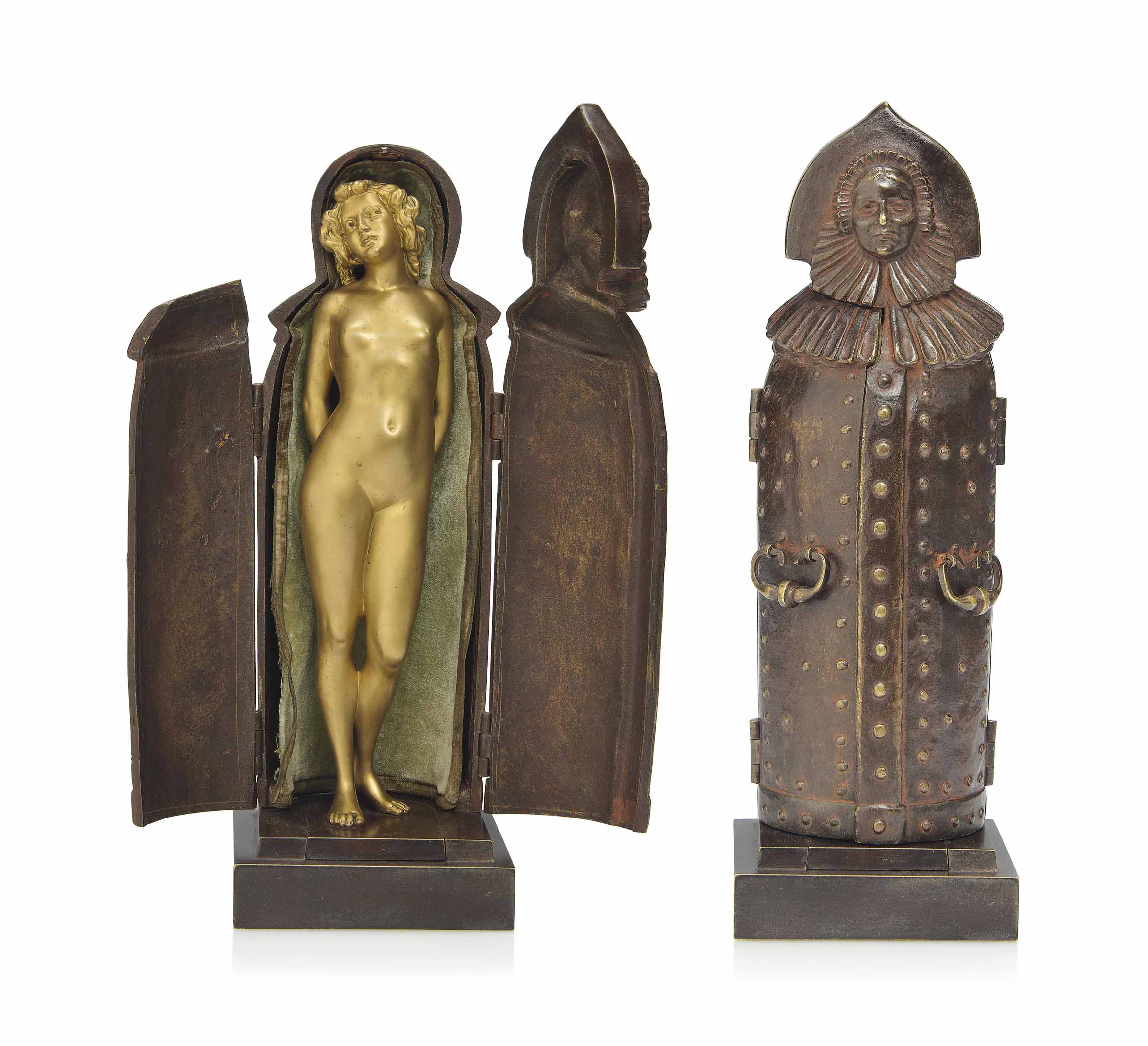 AN AUSTRIAN EROTIC COLD-PAINTED BRONZE FIGURE OF THE 'IRON MAIDEN'