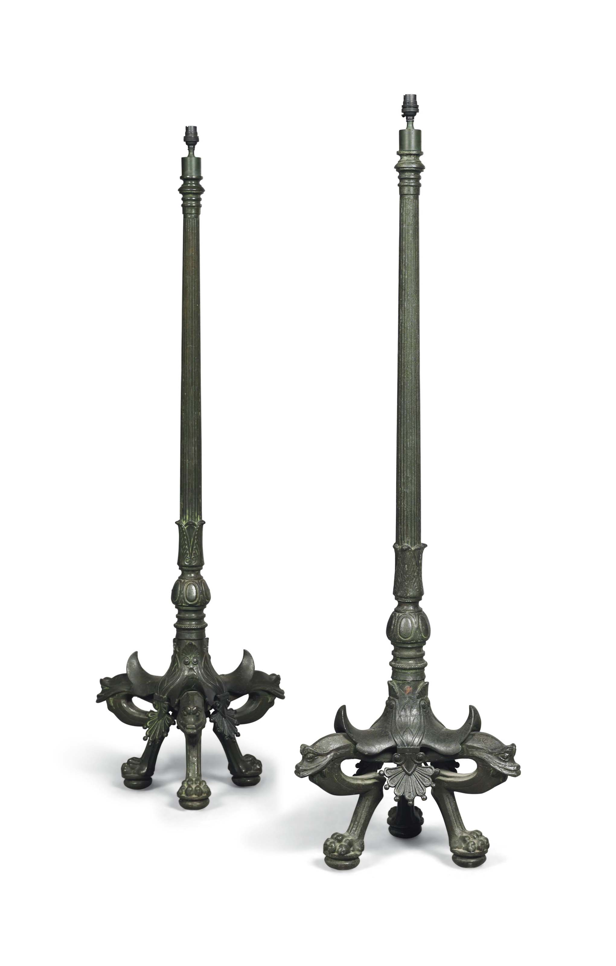A PAIR OF FRENCH CAST-METAL AL