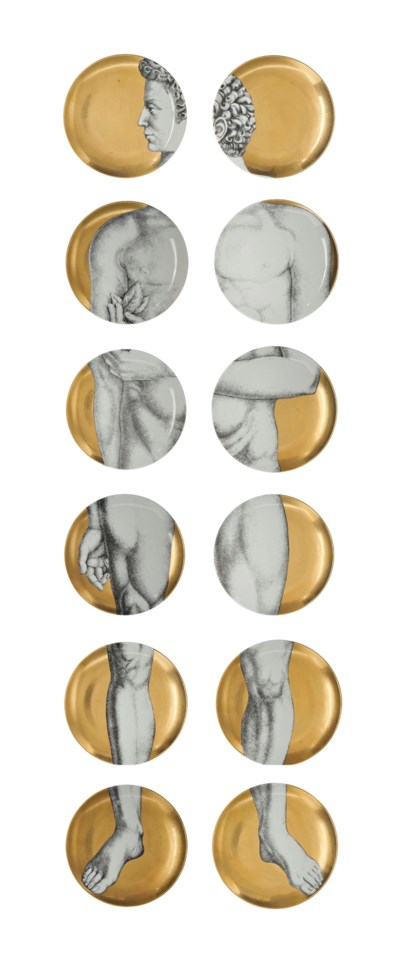 A SET OF TWELVE FORNASETTI 'AD