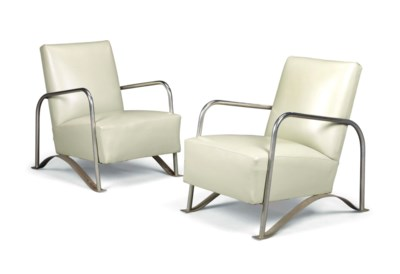 A PAIR OF MODERNIST NICKEL PLA