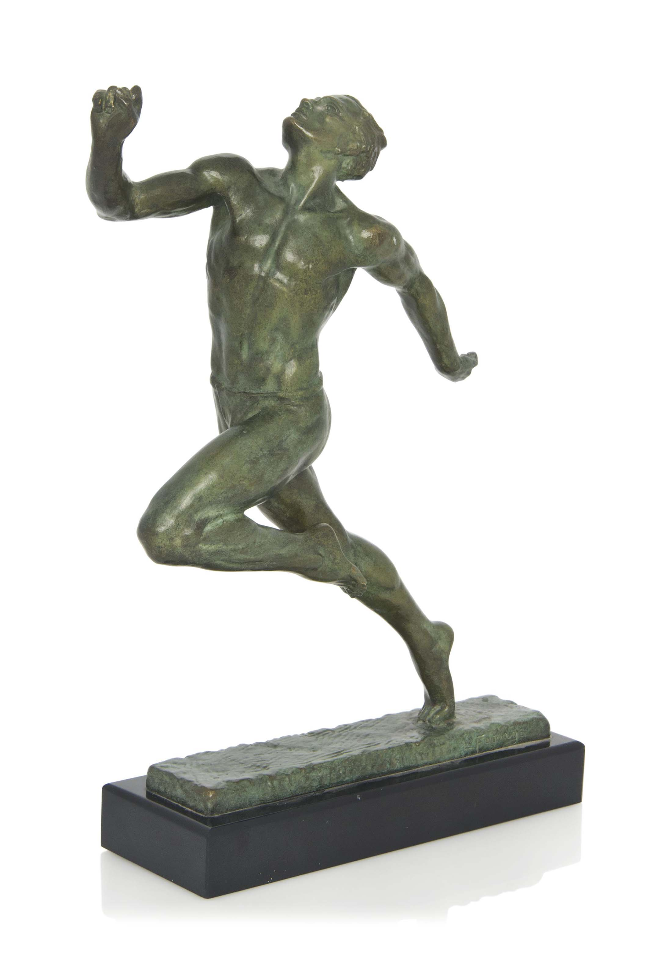 'THE SPRINTER ' A PIERRE LE FAGUAYS (1882-1935) COLD-PAINTED BRONZE FIGURE