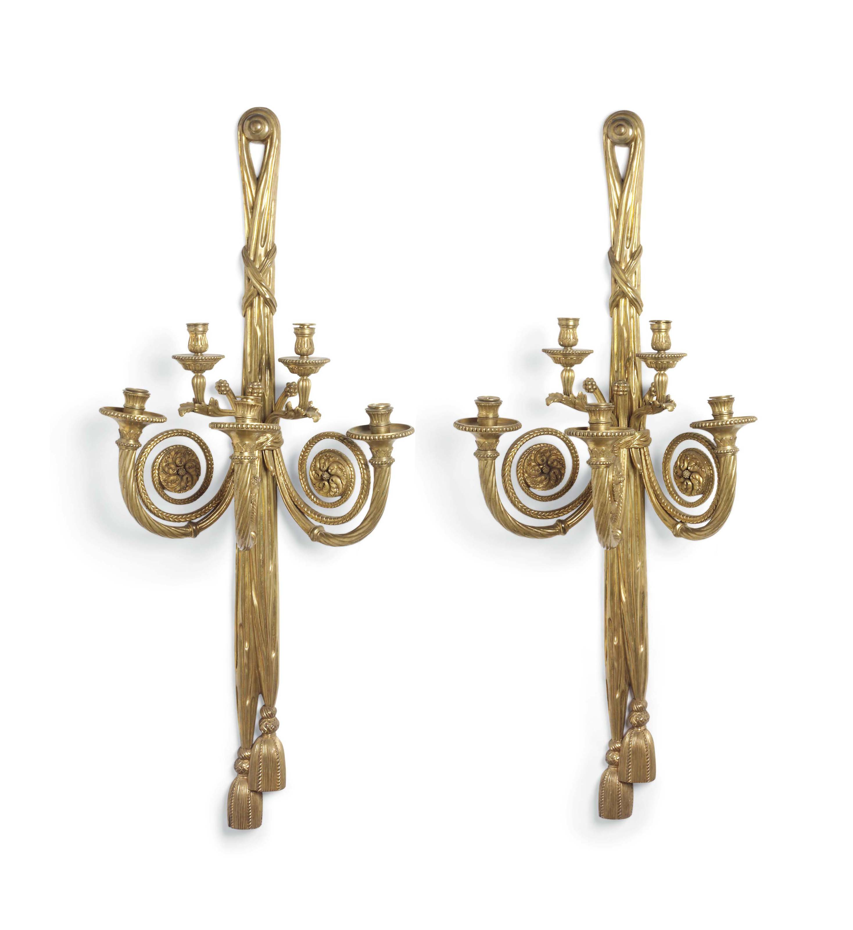 A PAIR OF VERY LARGE GILT-BRON