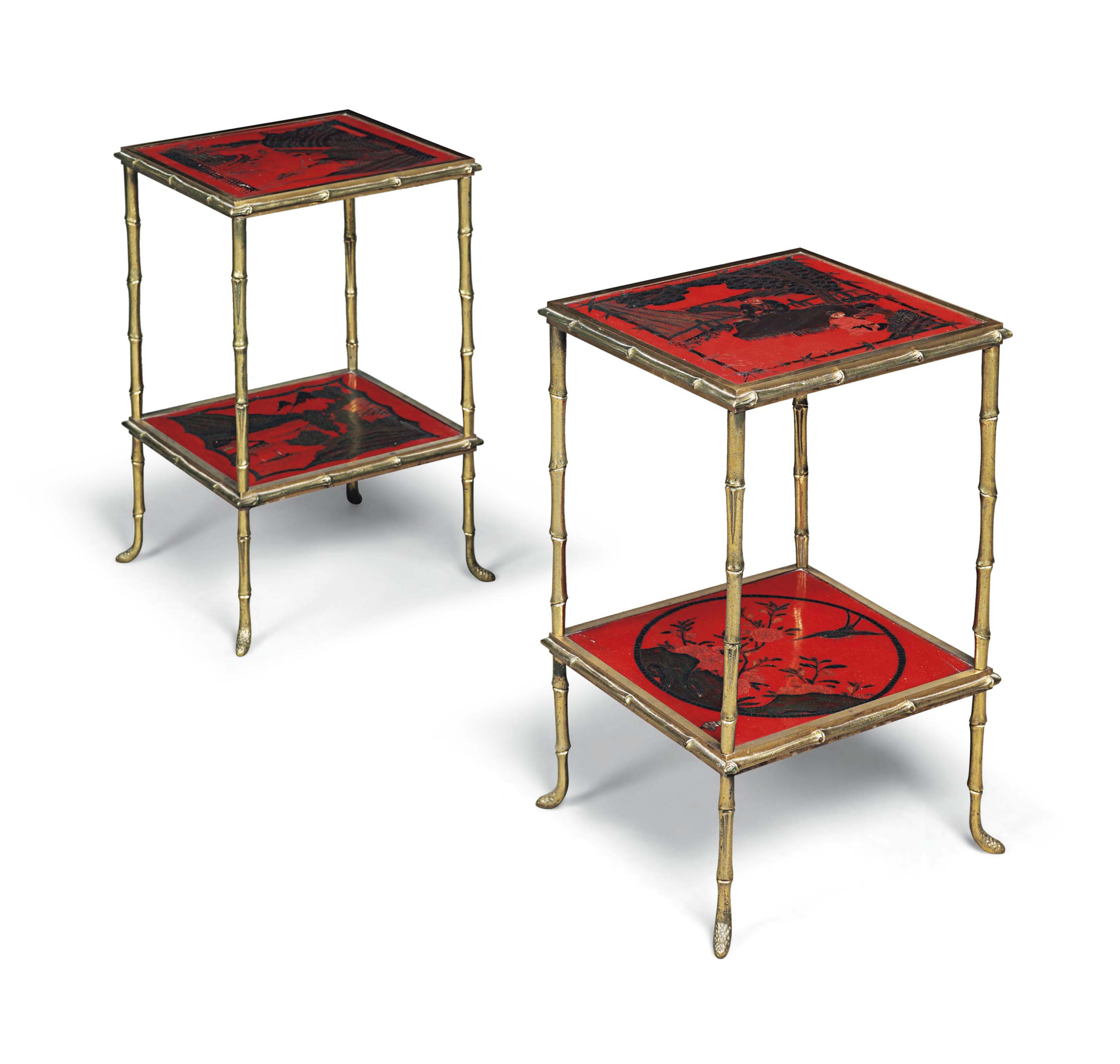 A PAIR OF GILT-METAL AND RED A