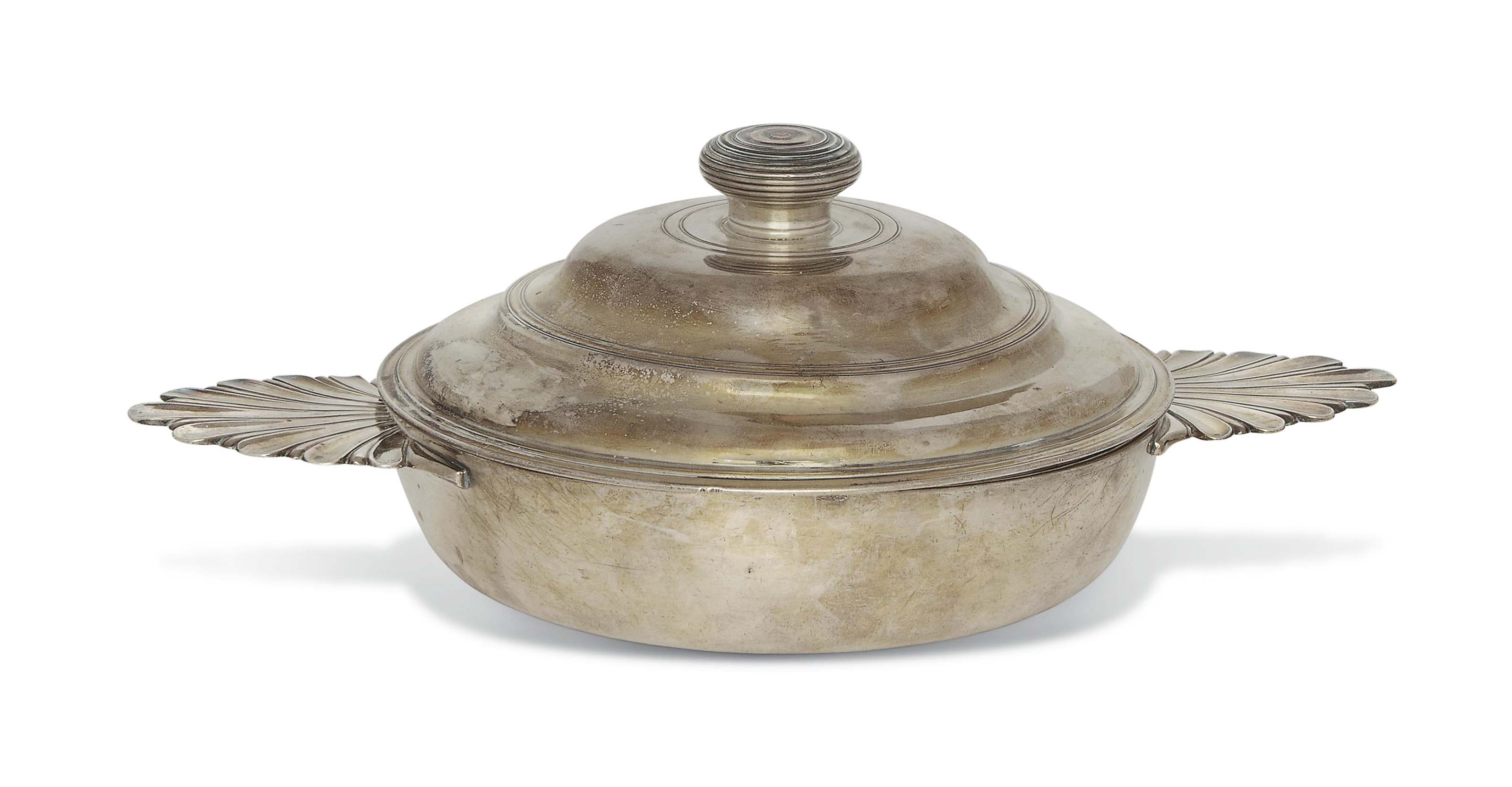 A FRENCH SILVER COVERED ECUELL