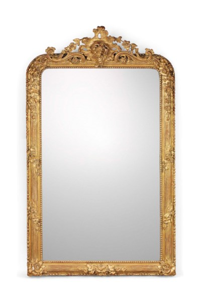 A LARGE FRENCH GILTWOOD MIRROR