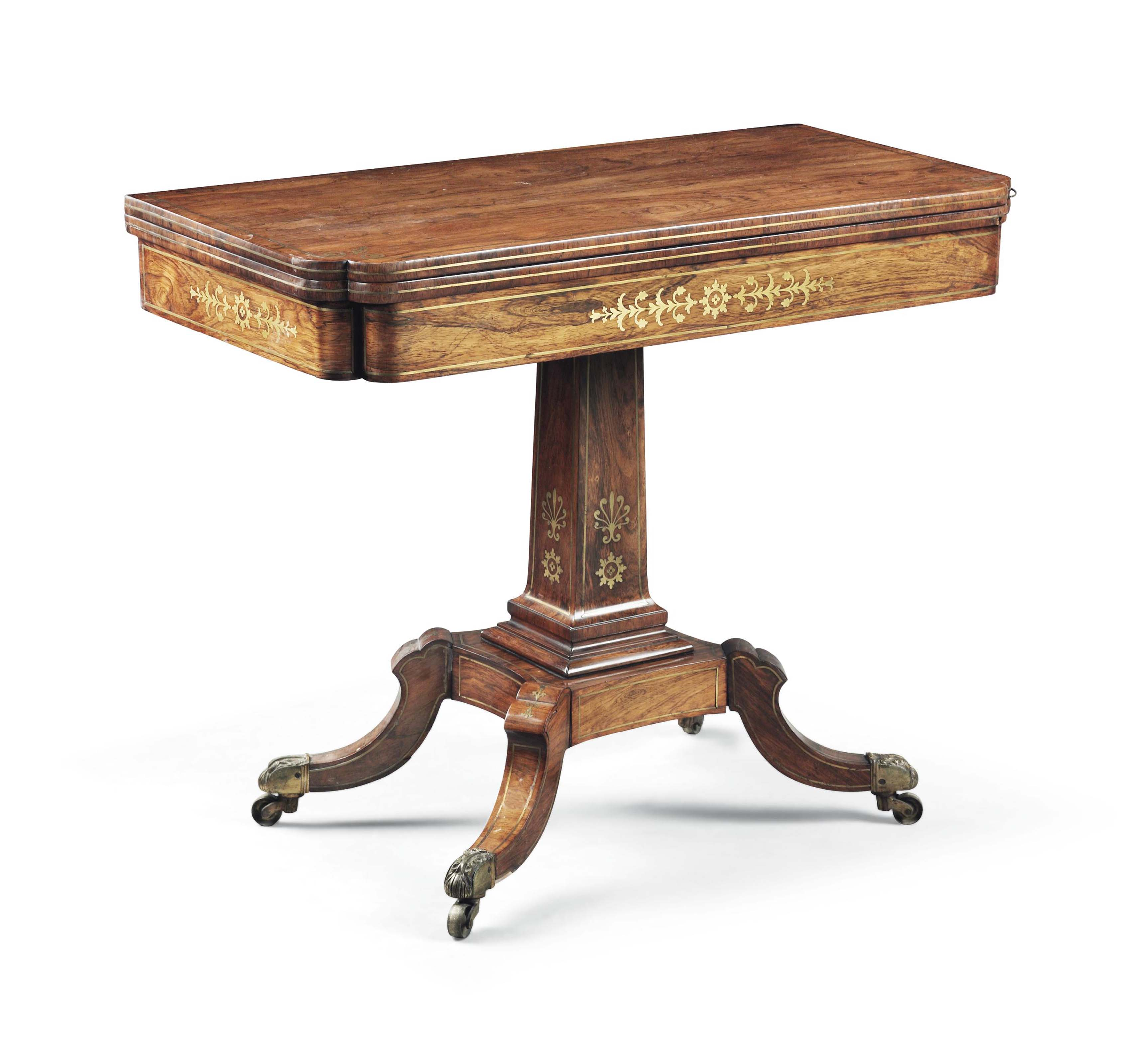 A REGENCY BRASS-INLAID ROSEWOOD CARD TABLE