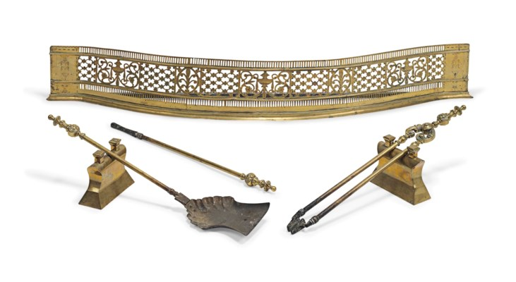 A GEORGE III BRASS BOW-FRONT F