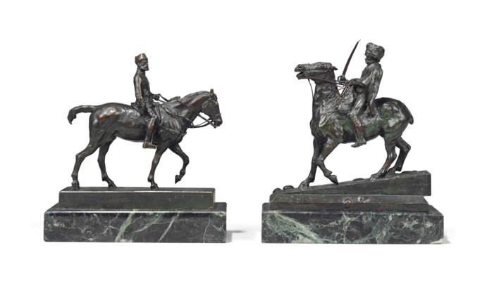 TWO FRENCH PATINATED-BRONZE EQ