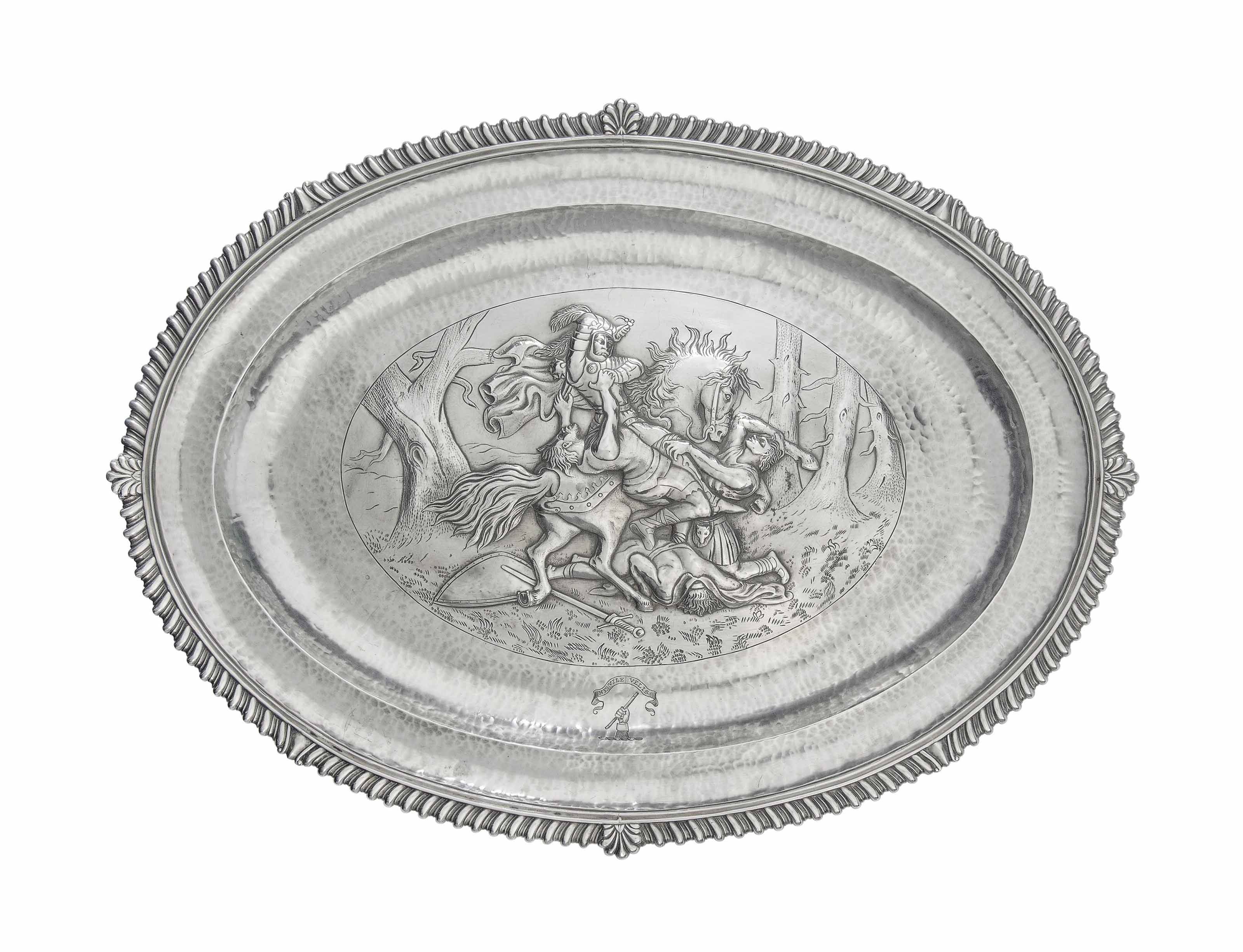 A GEORGE III SILVER MEAT DISH OF EXCEPTIONALLY HEAVY GAUGE