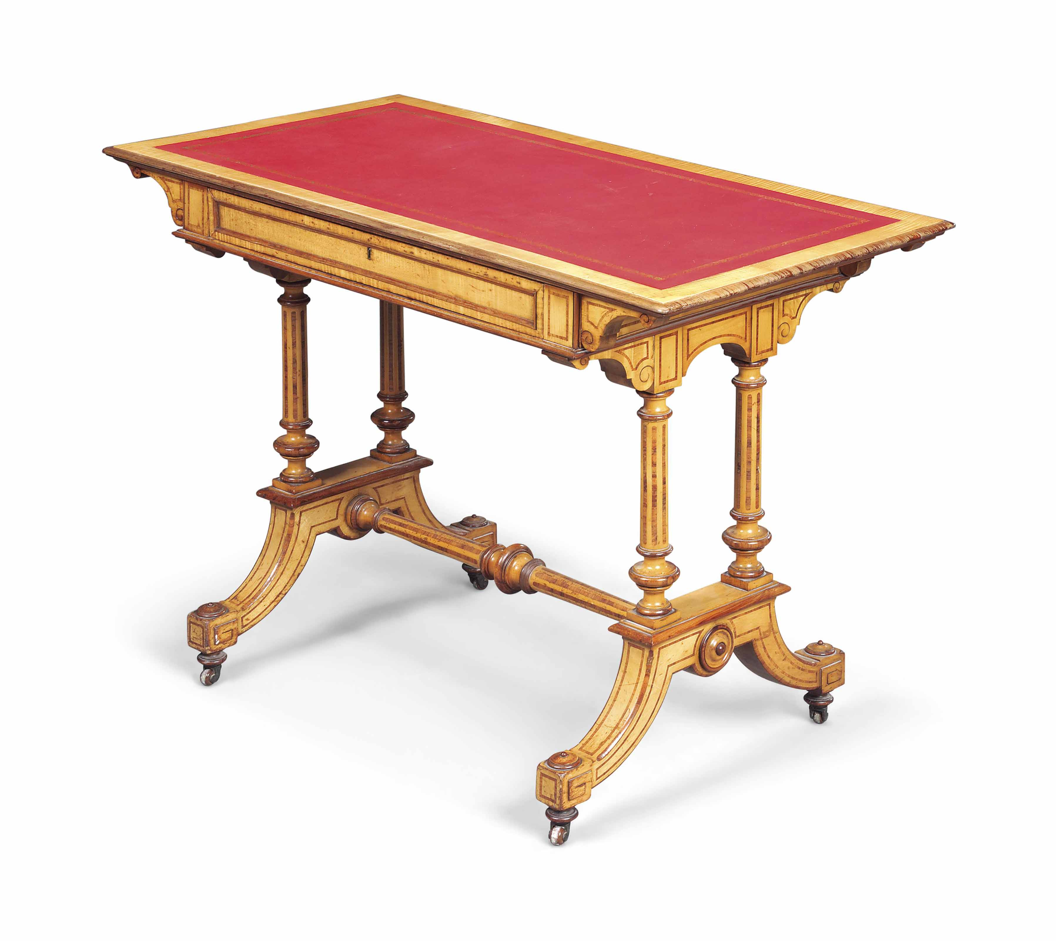 A VICTORIAN MAPLE, PURPLEWOOD AND KINGWOOD WRITING TABLE