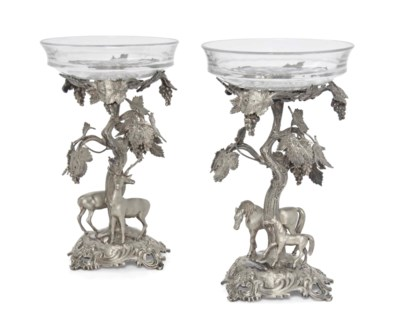 A PAIR OF VICTORIAN SILVER-PLA