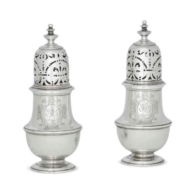 A PAIR OF SMALL GEORGE I SILVE
