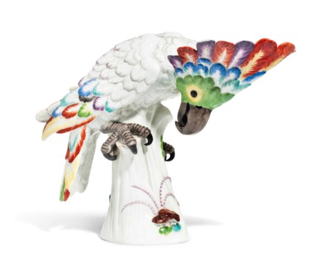 A MEISSEN MODEL OF A COCKATOO
