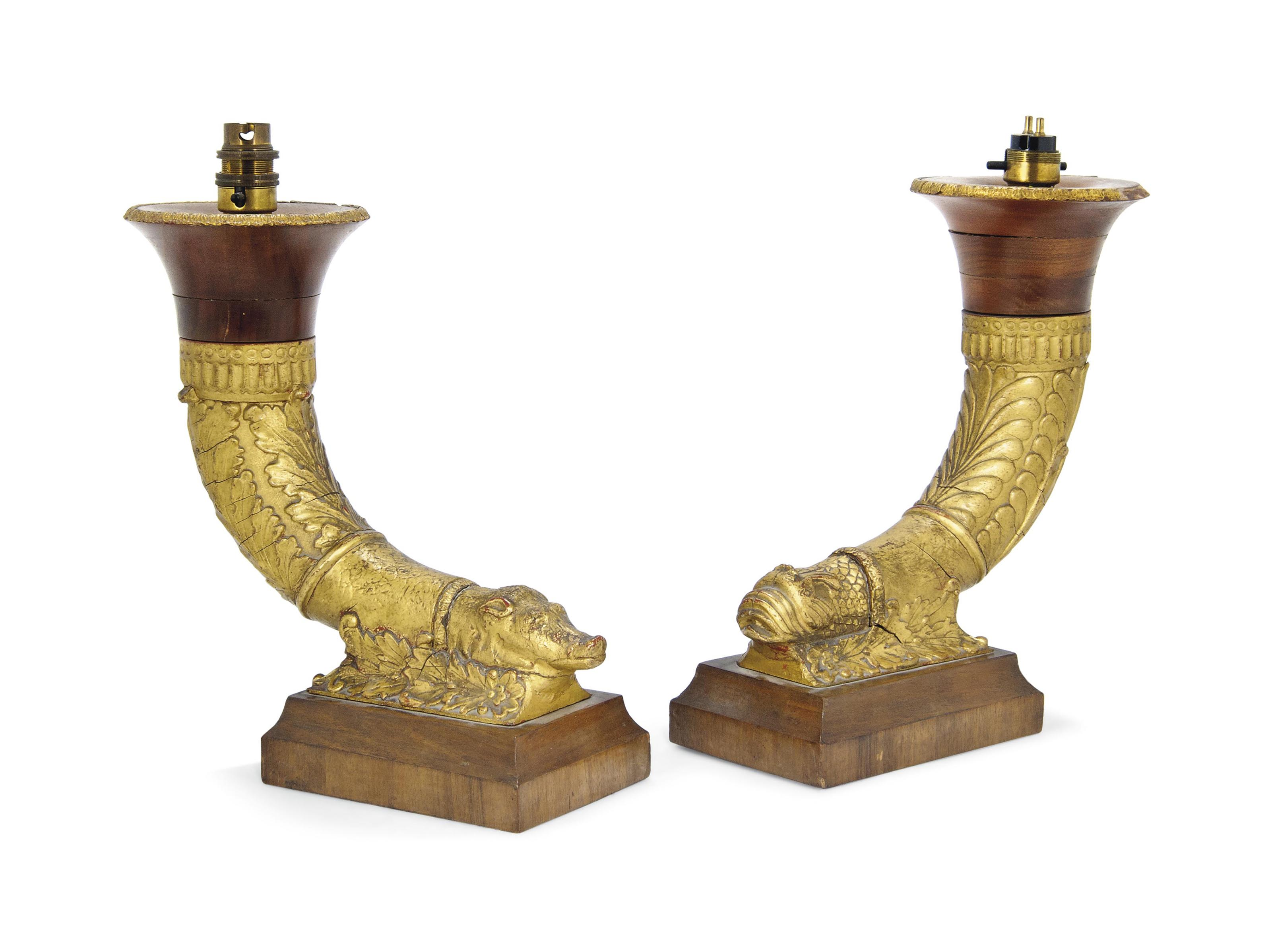 A PAIR OF WALNUT AND GILT-GESS
