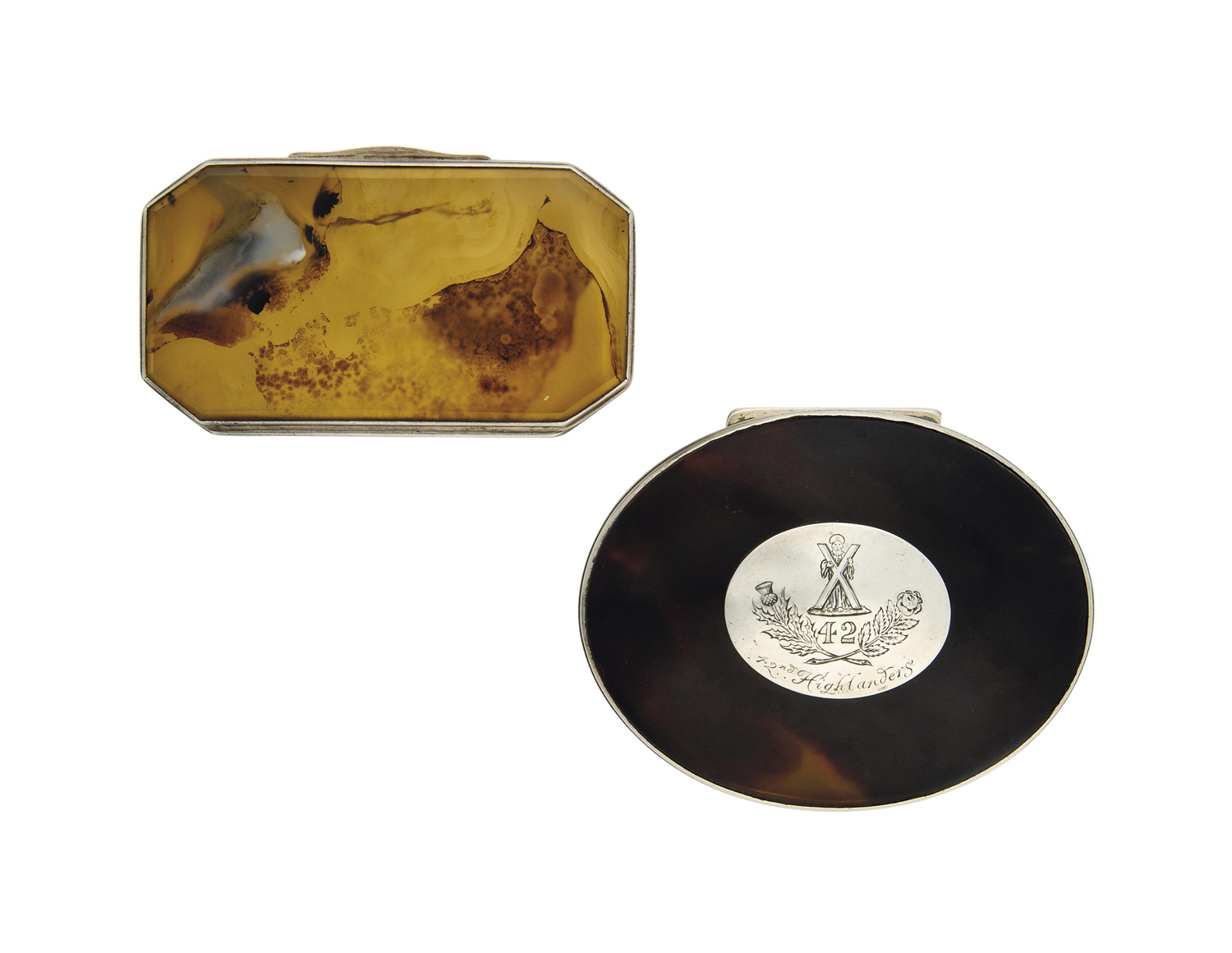 TWO SNUFF BOXES OF MILITARY IN
