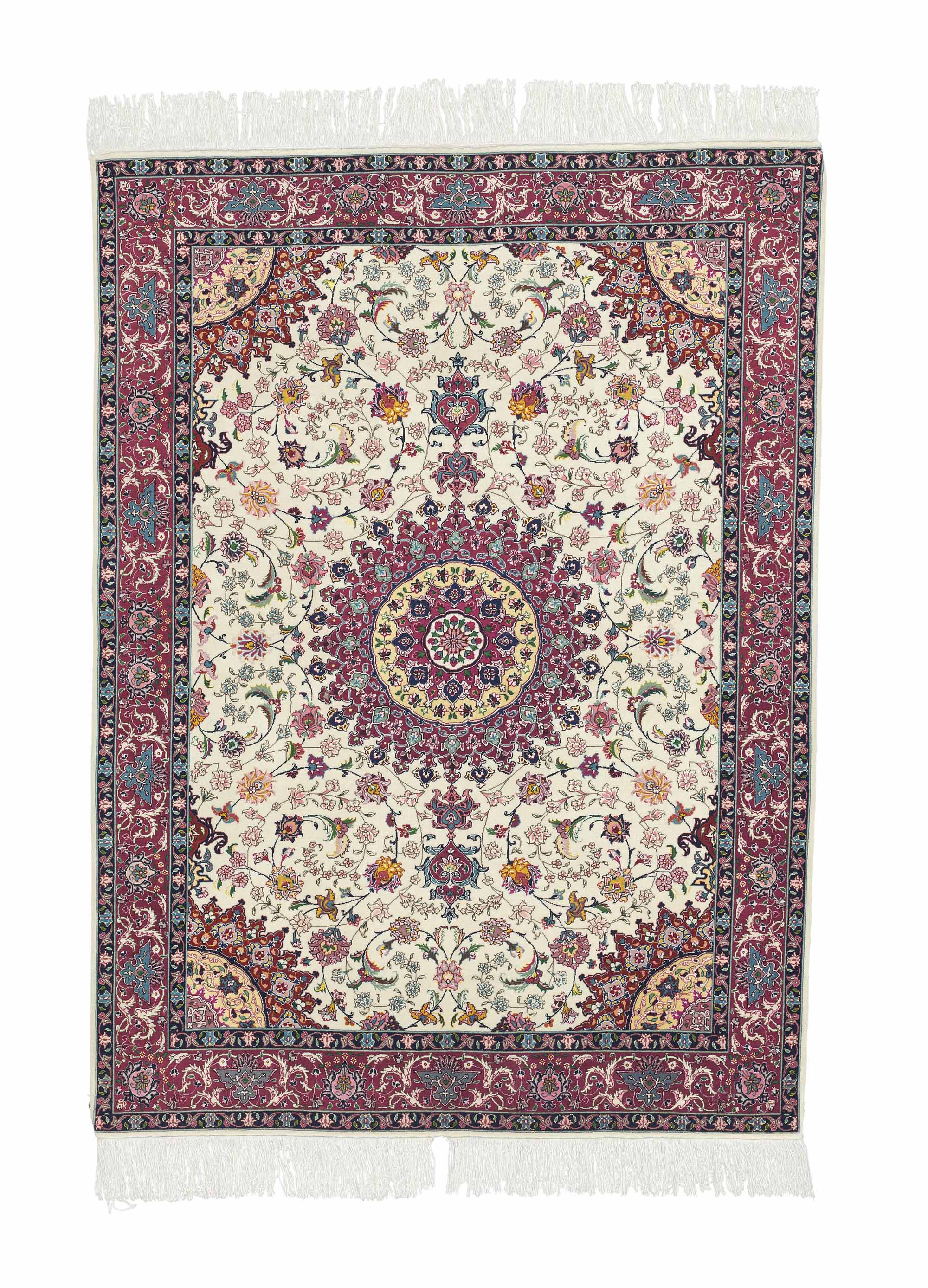 A fine part silk large Tabriz