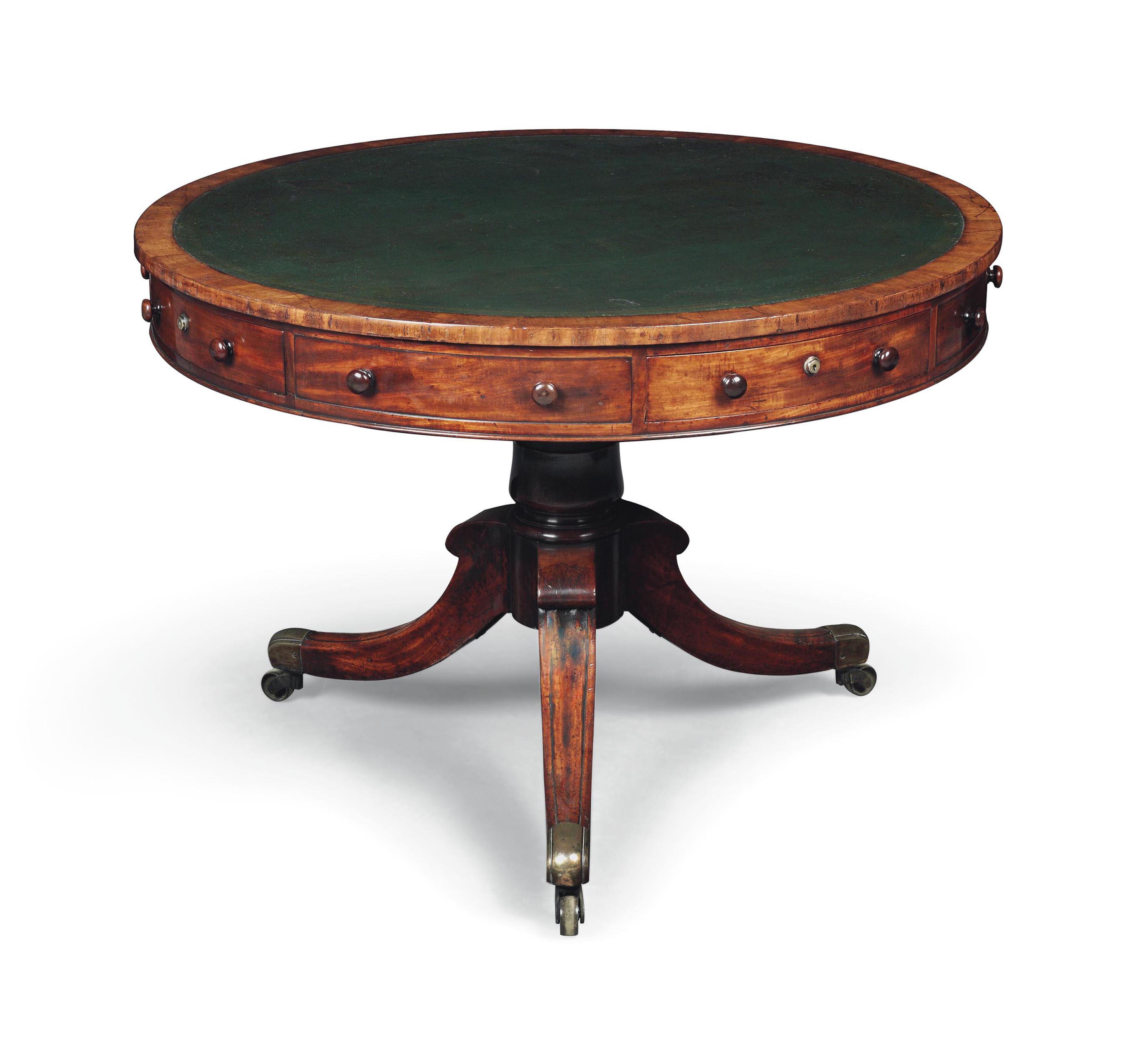 A REGENCY MAHOGANY DRUM TABLE