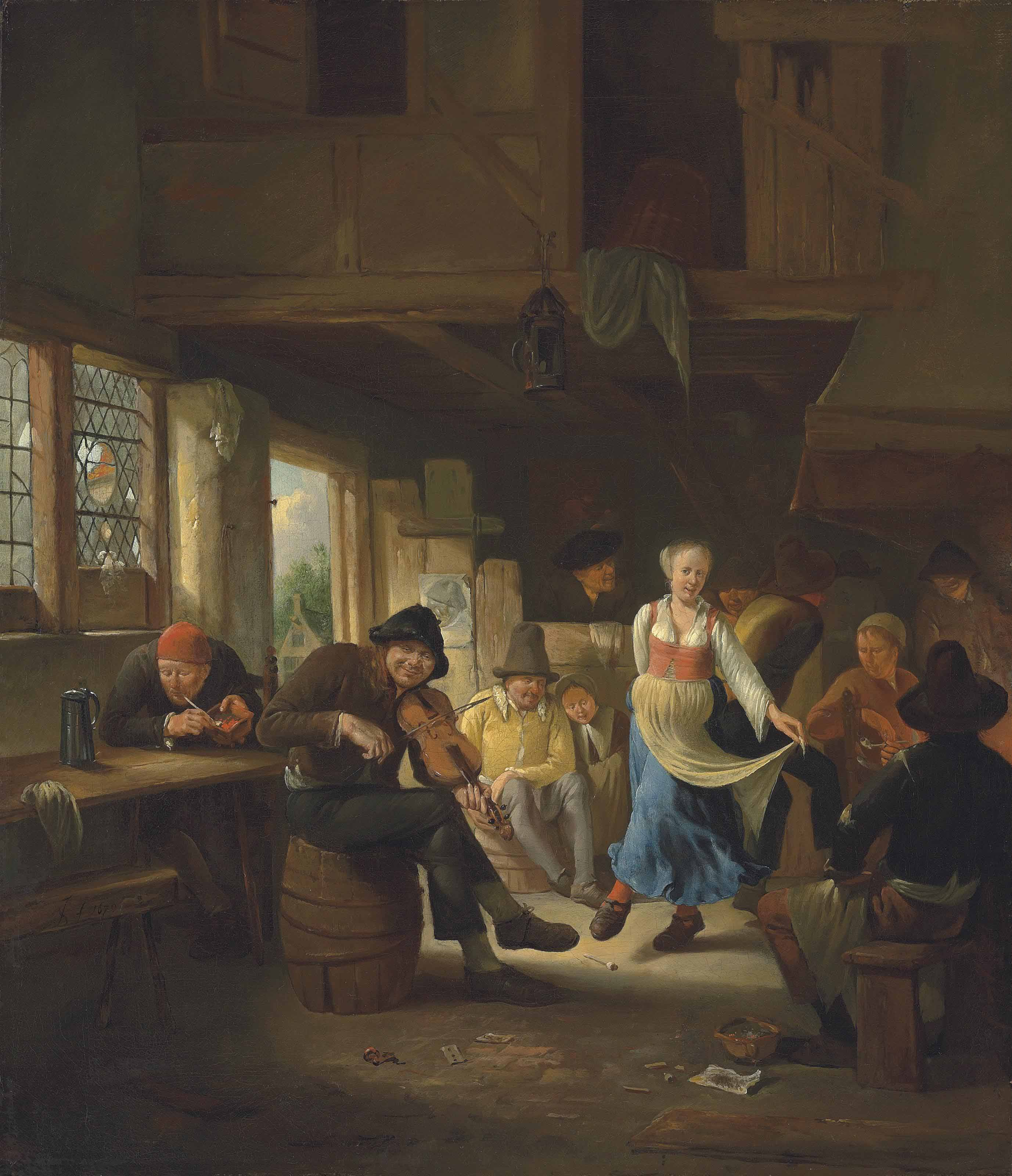 A tavern interior with a woman dancing, musicians and other figures merrymaking