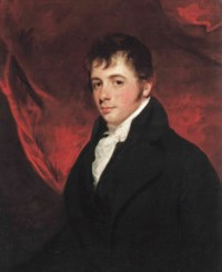 Portrait of a gentleman, half-length, in a black coat and white cravat, before a draped curtain