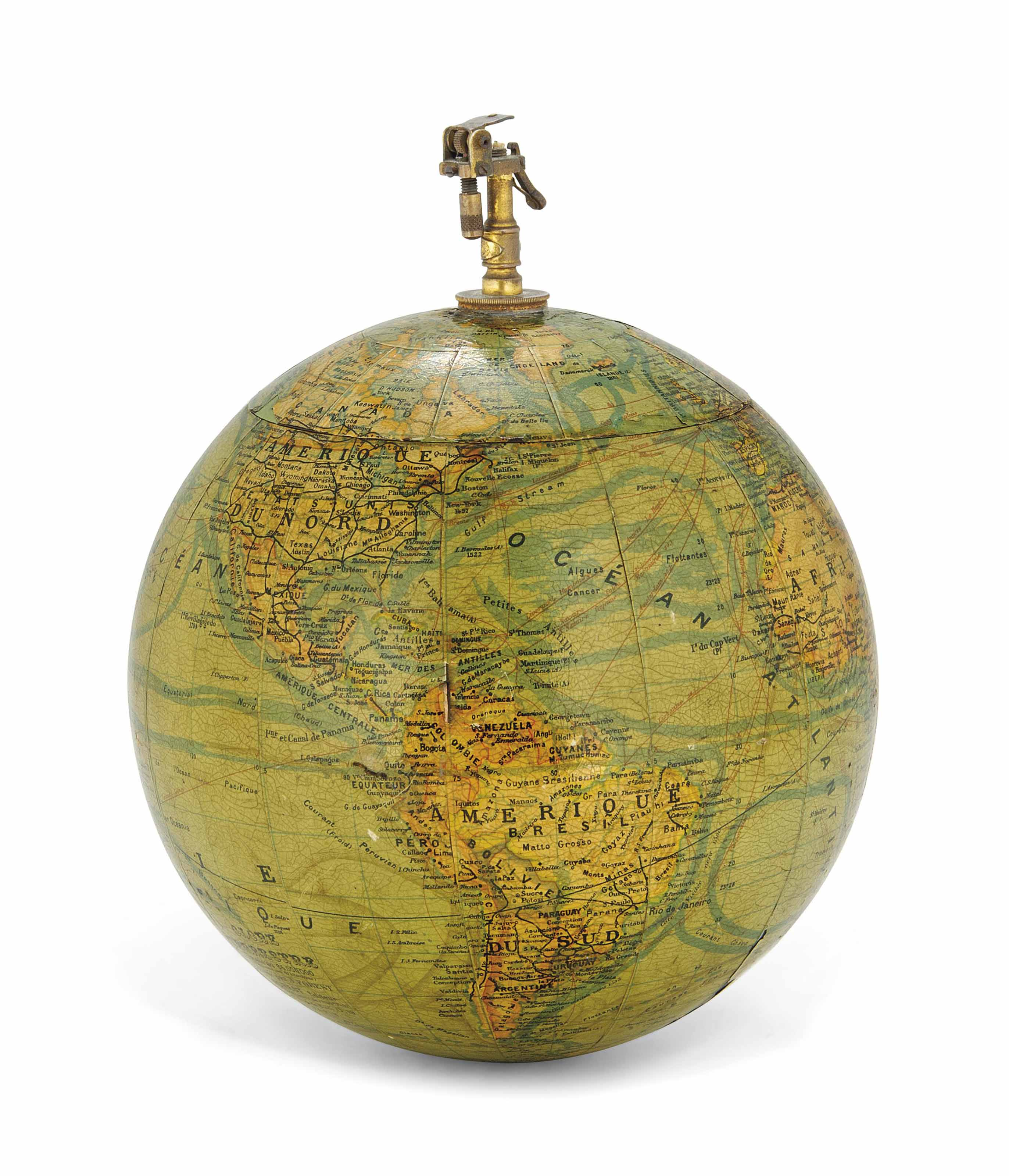 A FRENCH GLOBE TABLE COMPENDIU