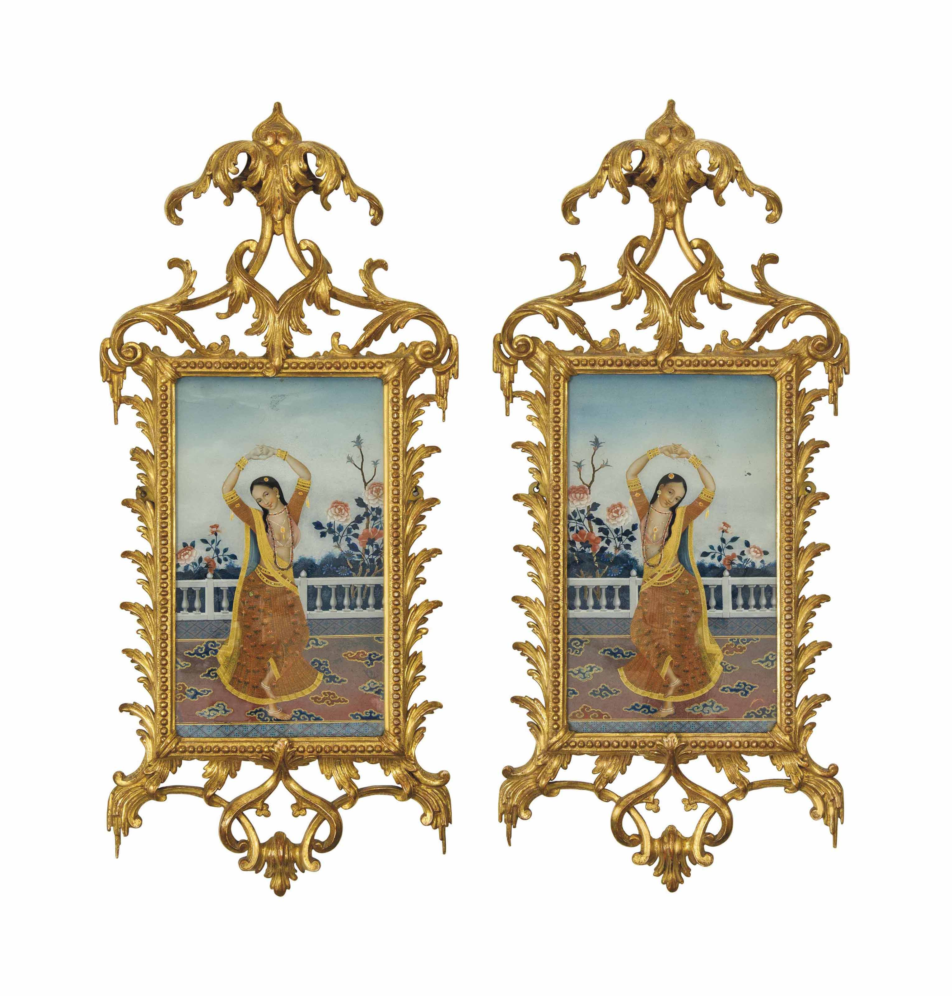 A PAIR OF INDIAN REVERSE GLASS