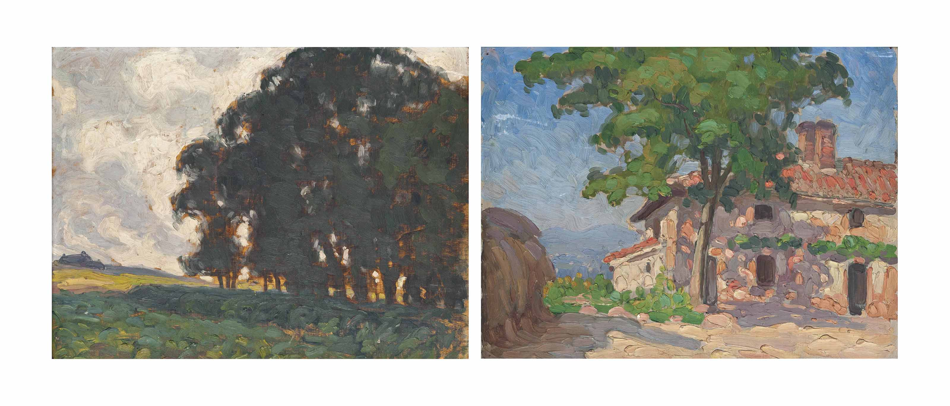 Five oil sketches: The lake shore, Geneva; A copse on the edge of a field, near Évian-les-Bains; The red farm house, Dalecarlia, Sweden; An Italian landscape with a church; and Study of a farm house