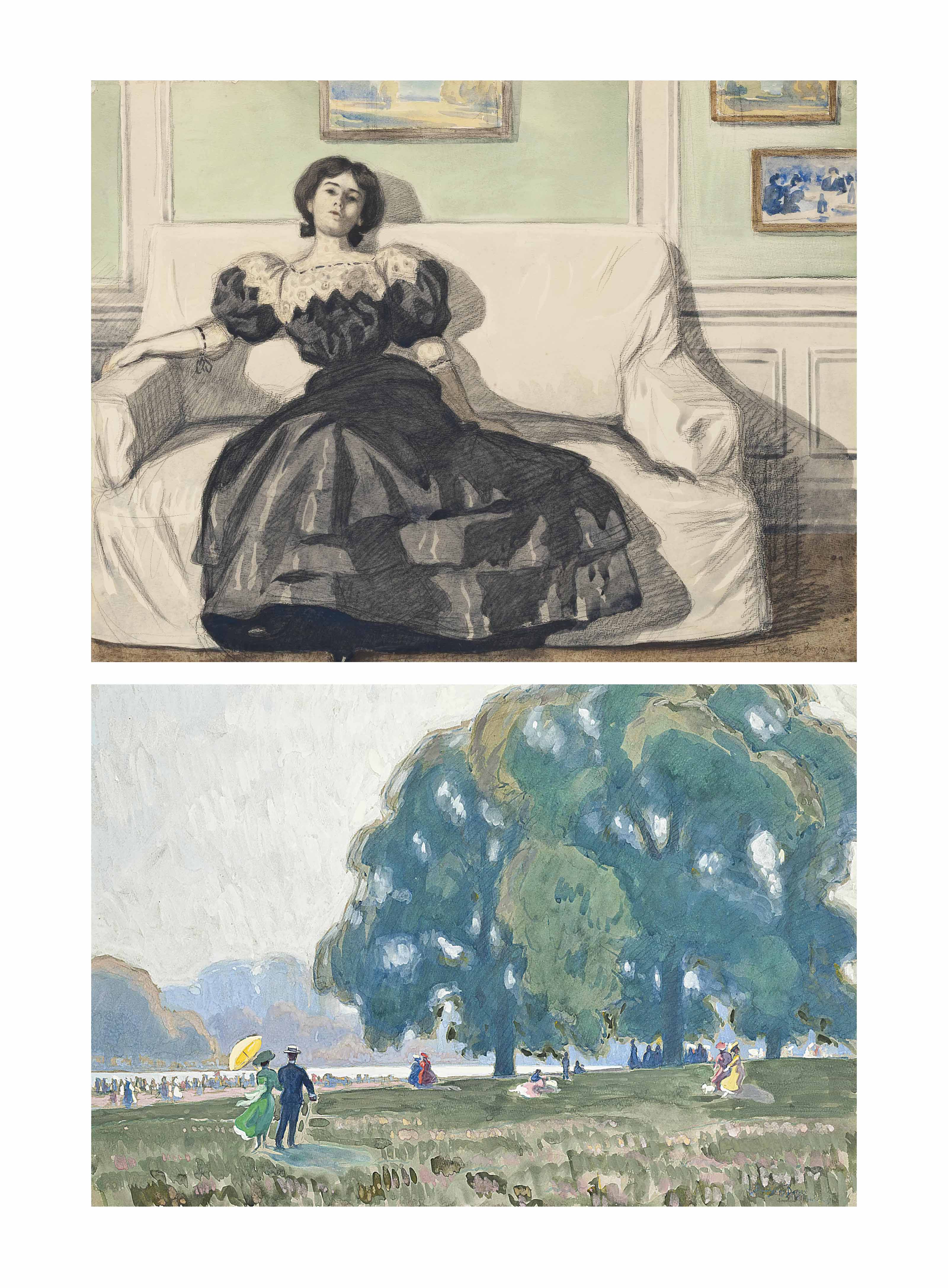 A Summer afternoon in Hyde Park, London; and A portrait of an elegant lady on a sofa
