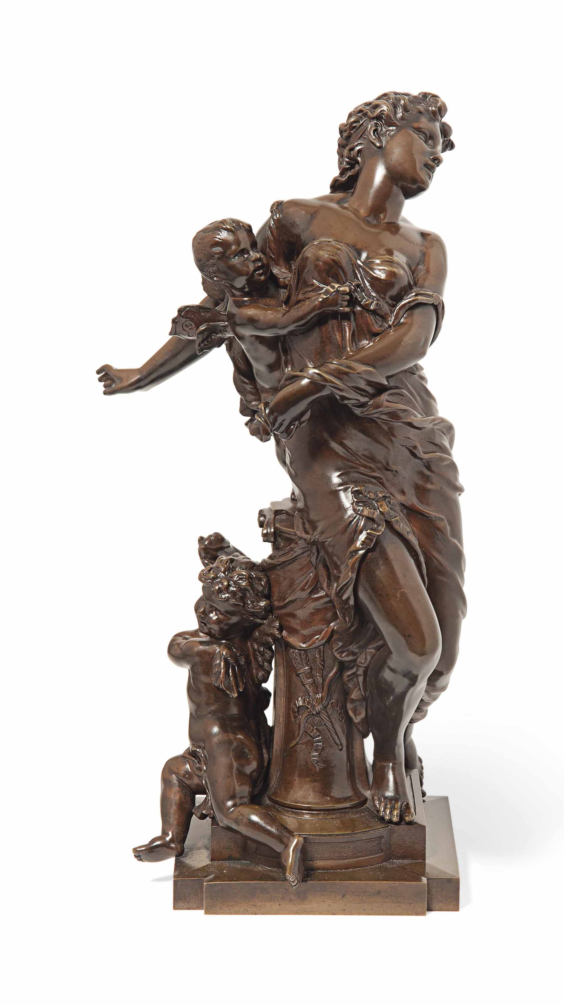 A FRENCH BRONZE OF VENUS WITH ATTENDANT CUPIDS