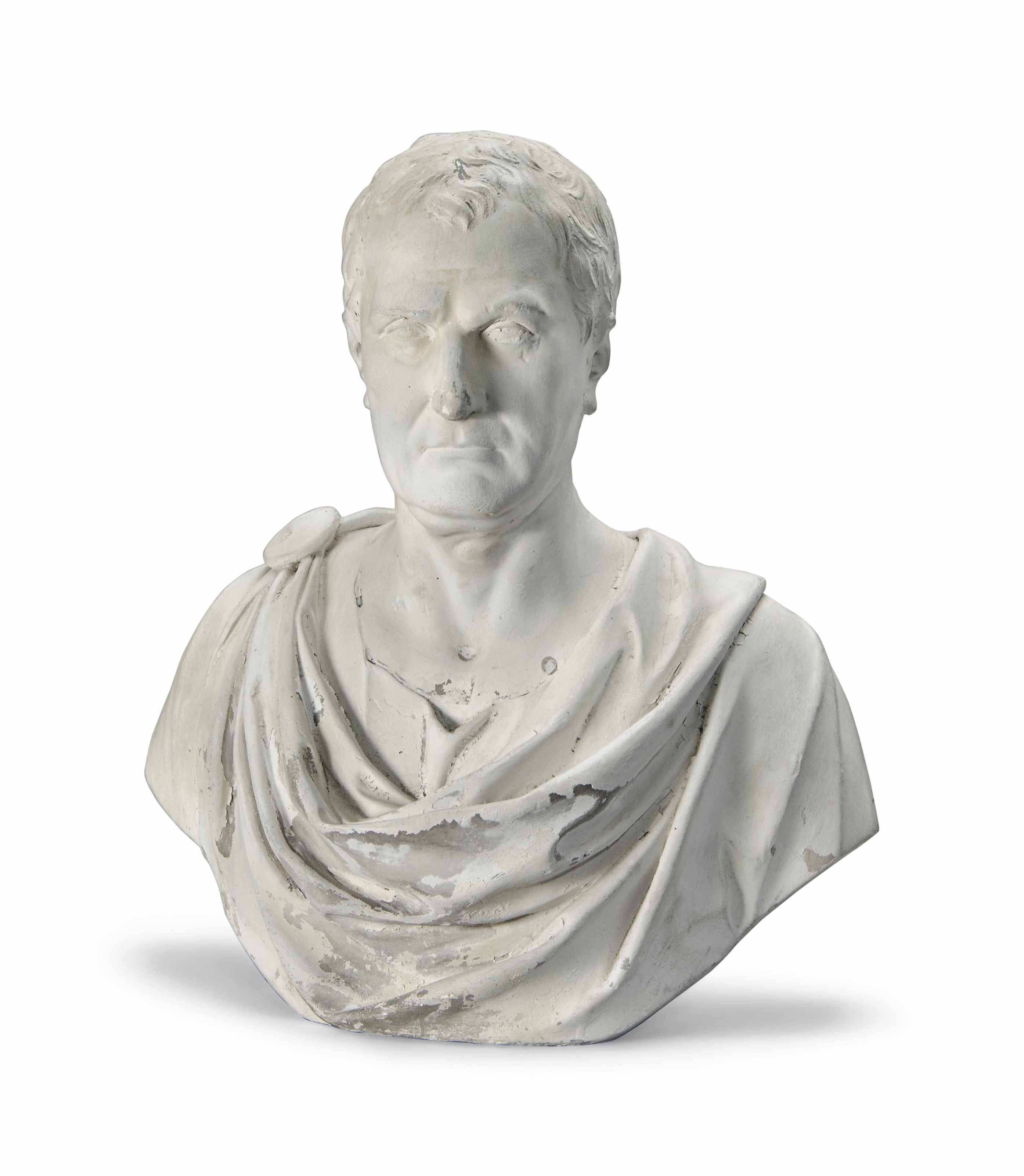 AN ENGLISH PLASTER BUST OF A G