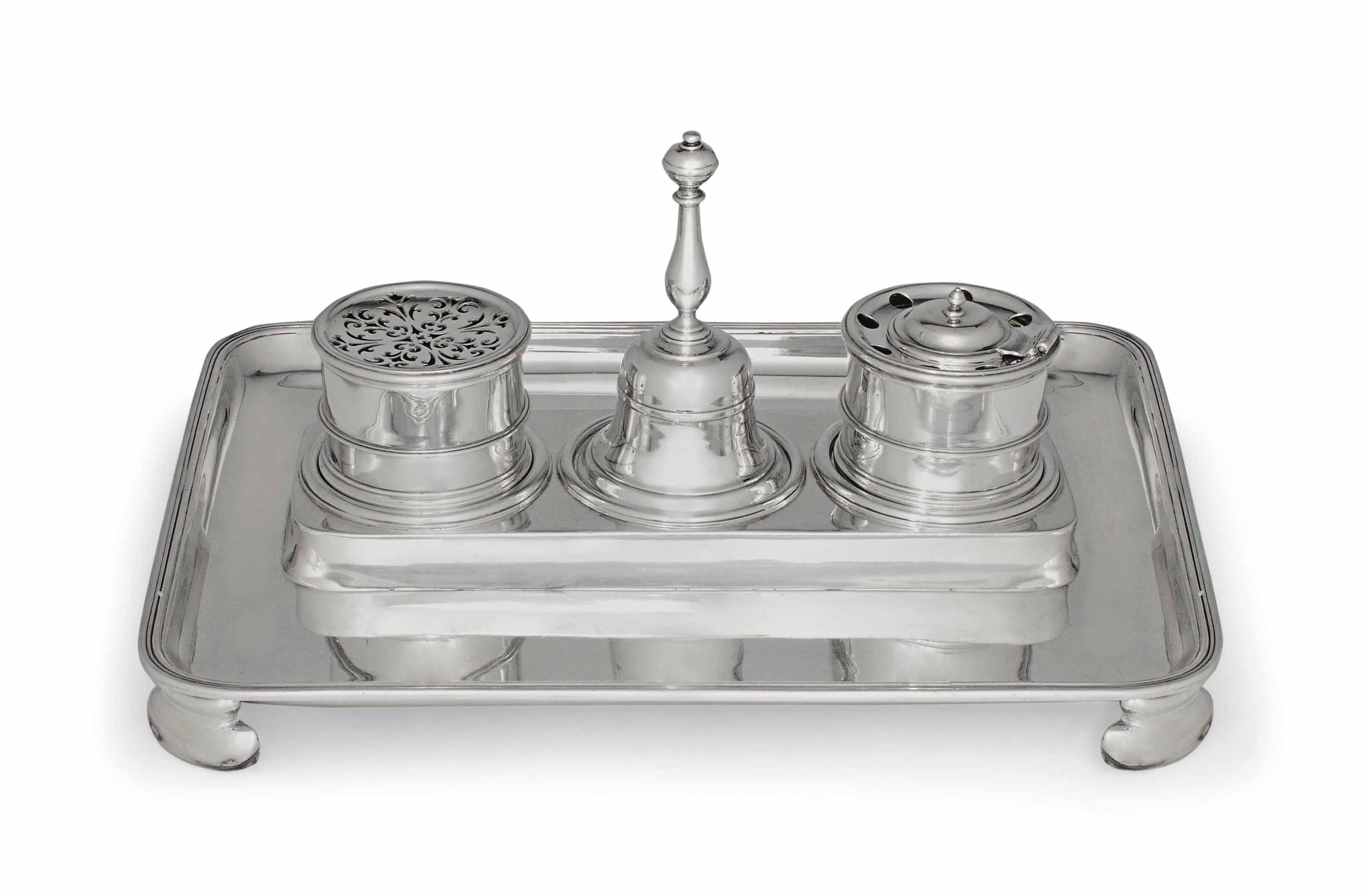 A BRITANNIA STANDARD SILVER REPRODUCTION OF A GEORGE I INKSTAND