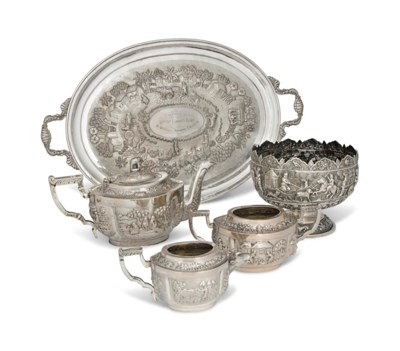 AN INDIAN SILVER THREE-PIECE T