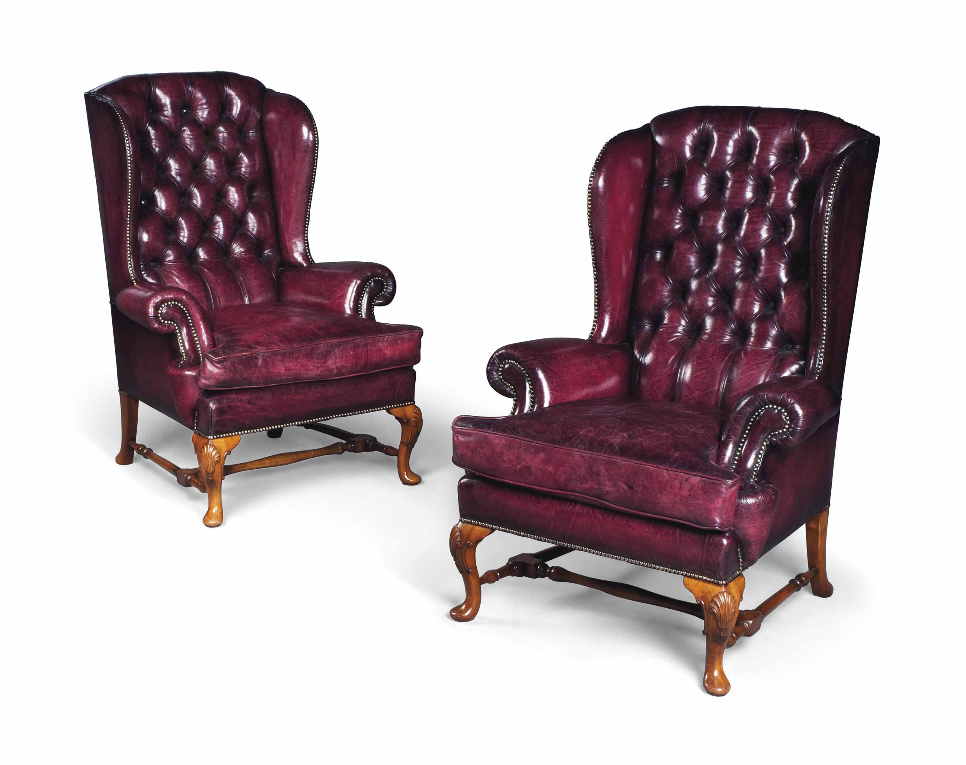 A Pair Of English Walnut High Back Wing Armchairs Of Queen Anne Style First Half 20th Century 18th Century Wing Armchair Christie S