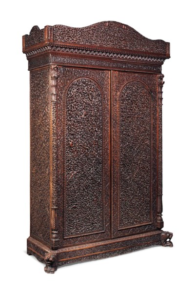 AN INDIAN CARVED ROSEWOOD WARD