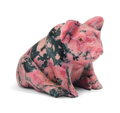 A RHODONITE MODEL OF A PIG