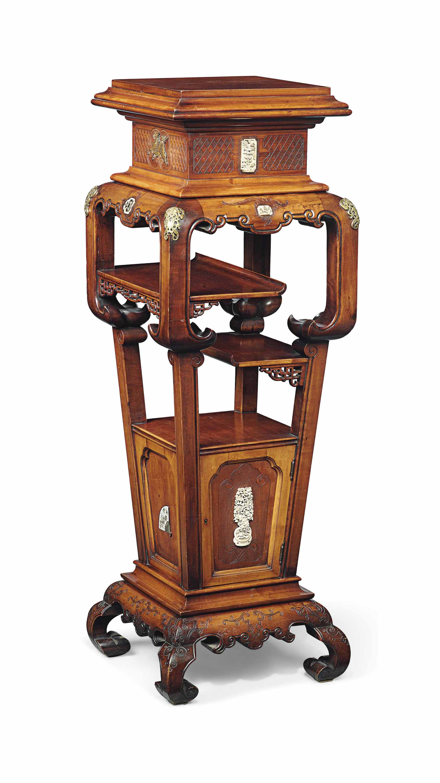A FRENCH 'JAPONISME' ORMOLU- AND IVORY-MOUNTED FRUITWOOD STAND