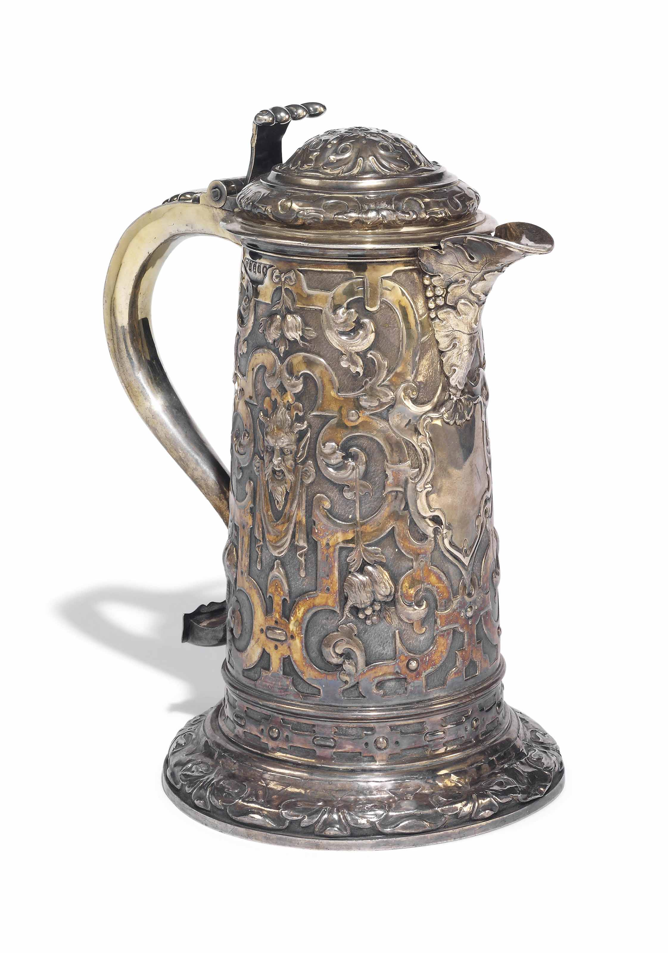 A MASSIVE VICTORIAN BRITANNIA STANDARD SILVER-GILT FLAGON IN THE RENAISSANCE MANNER