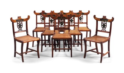 A SET OF EIGHT ITALIAN WALNUT