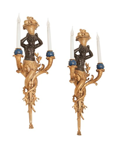 A LARGE PAIR OF FRENCH GILT AN