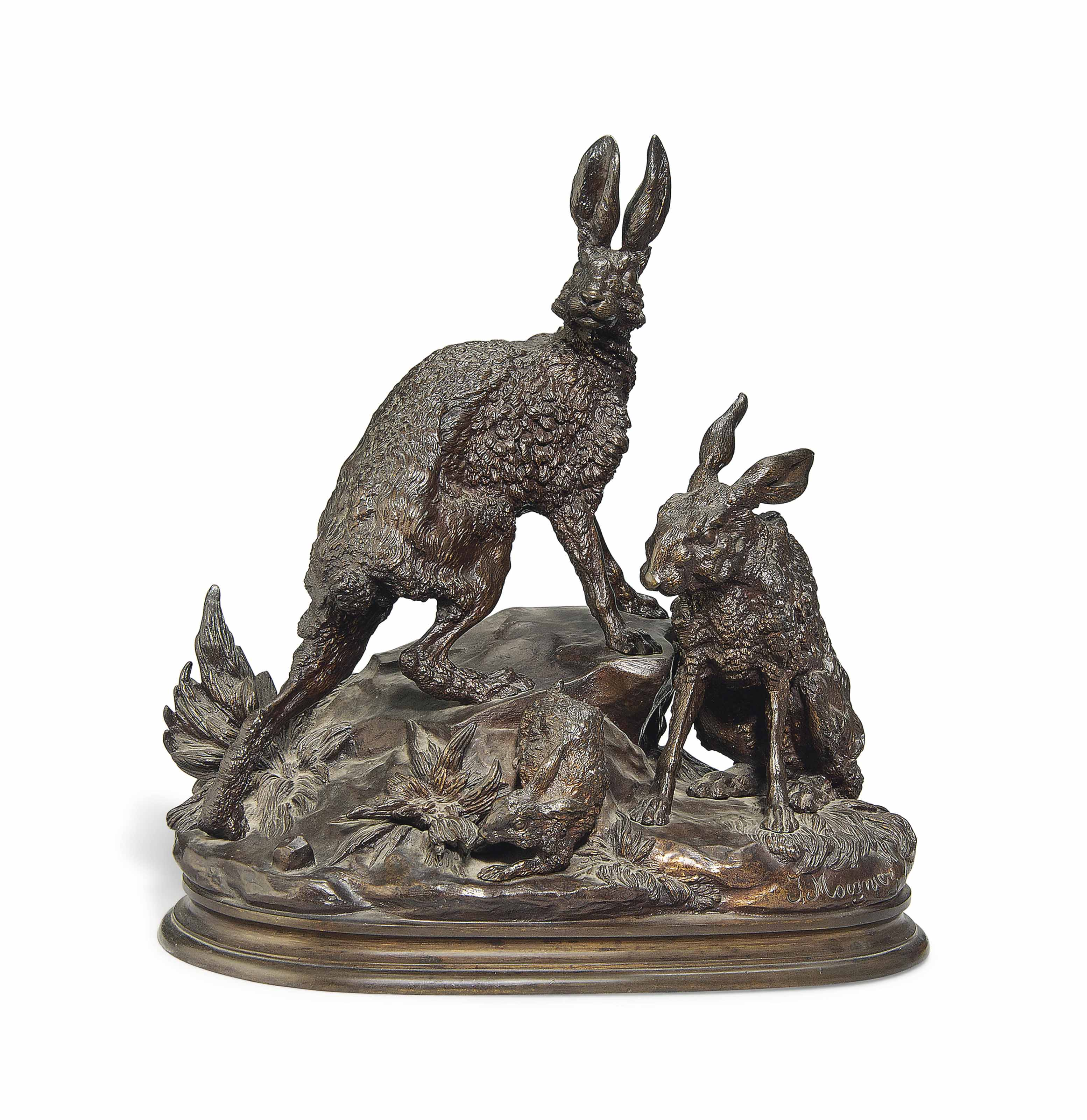 A RARE FRENCH BRONZE GROUP OF TWO HARES AND A RABBIT