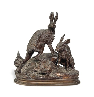 A RARE FRENCH BRONZE GROUP OF
