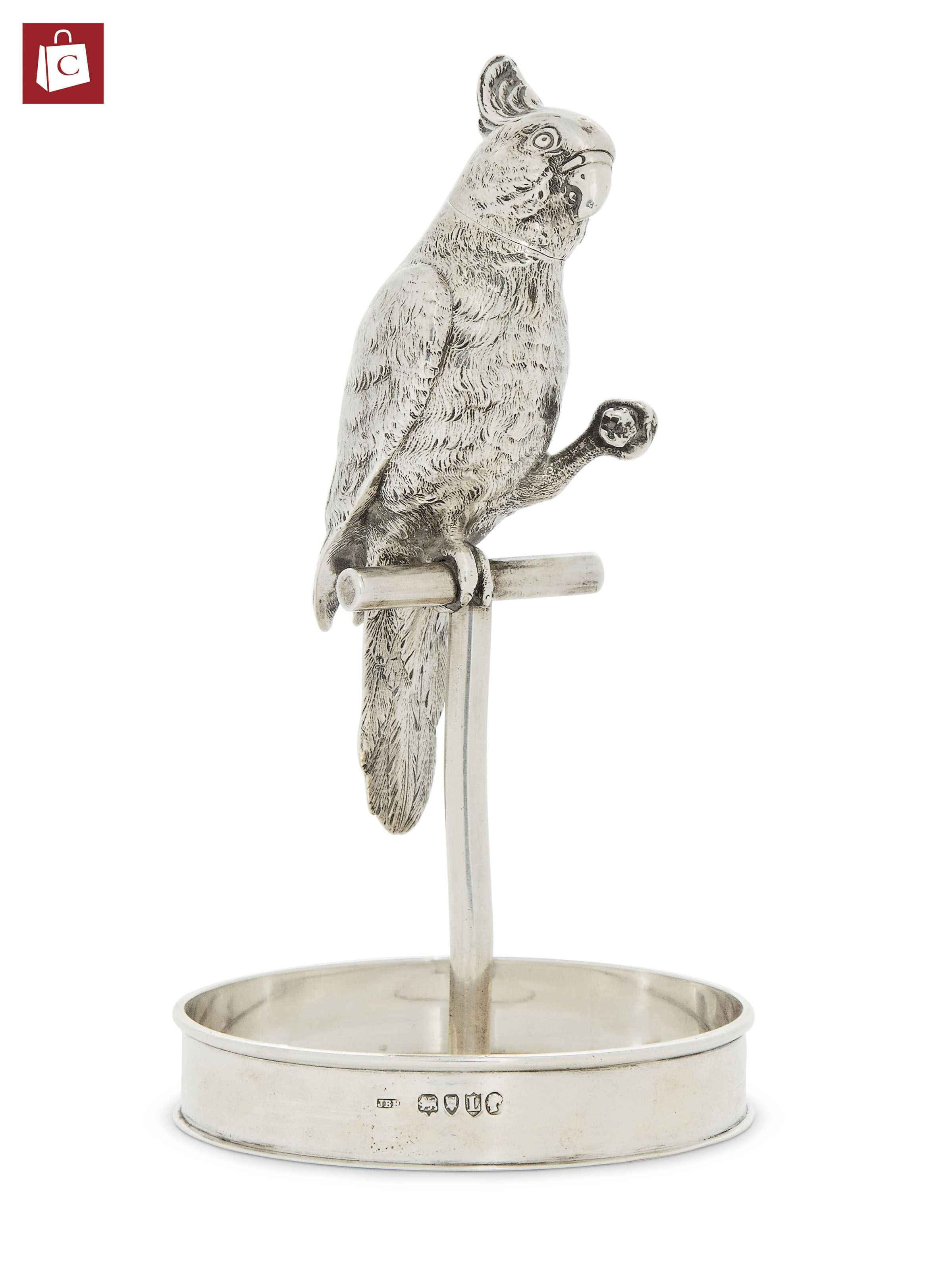 A VICTORIAN SILVER NOVELTY TABLE SPIRIT LIGHTER IN THE FORM OF A COCKATOO ON IT'S PERCH