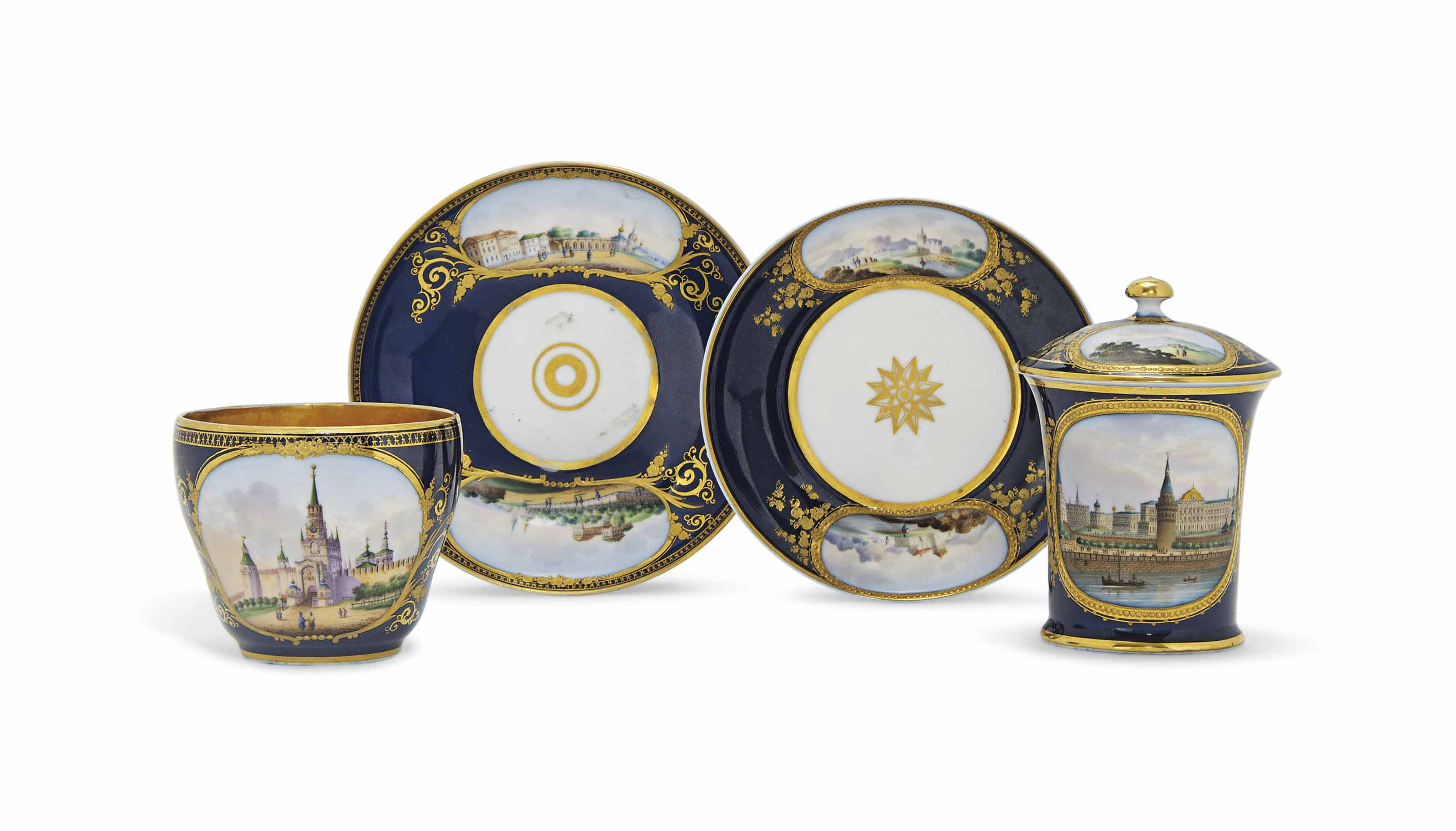 TWO RUSSIAN PORCELAIN DARK-BLU